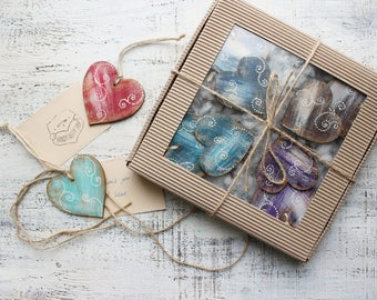 Large gift box set of 8 wooden heart ornaments magnets Valentines day decor rustic red blue white shabby bridal shower Mothers day Christmas