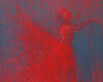 Ballerina print, Red wall art canvas, giclee print, Contemporary art print dancer art canvas - Green Taste of Grey