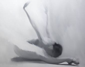 Gift for Her GICLEE Print on Canvas, Fine Art Print, Black and White Painting Print of Contemporary Ballet Dancer