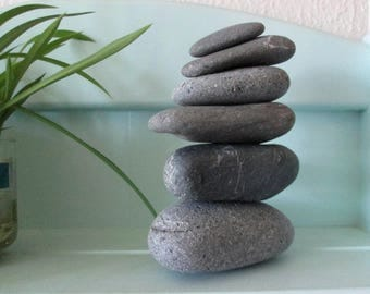 6 Natural Heart Rocks - 6 Triangle Shaped Beach Stones - Cairn - Zen Garden - Meditation Stones C57