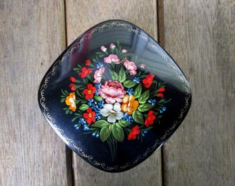 Hand Painted Russian Box Vintage - Black Lacquer on Metal - Floral - Trinkets - Russian Folk Art