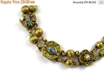 ON SALE Goldette Victorian Revival Slider Bracelet - Moons & Stars
