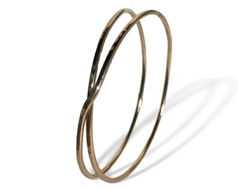 Liberty & Justice Double Bangle - 14K Gold Fill Hammered Bracelet- Support ACLU