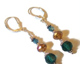 SALE - 25% Off Original Price Blue, Amber  Swarovski Crystal Sterling Silver Earrings