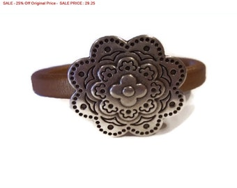 SALE - 25% Off Original Price Licorice Leather Cuff Bangle Bracelet with Magnetic Clasp