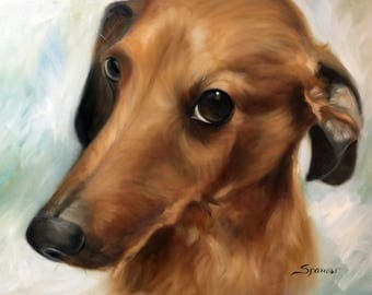 PRINT of original oil pet portrait Dachsund Dog Puppy Art / Mary Sparrow of Hanging the Moon Studio