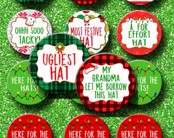 Ugly Christmas Hat Party Award 2.25 inch Pinback buttons pins badges Christmas party favors Ugly Sweater Party Ugly Hat Award Pins