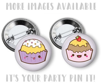 Kawaii Cupcakes Happy Birthday 1 inch pinback buttons, Fridge Magnets, Hollow back, Flatback Buttons Backpack Pins purse pins