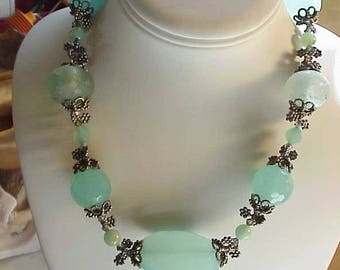 LOVELY  NECKLACE Beach Glass, Sterling Silver, Chalcedony  One of a kind
