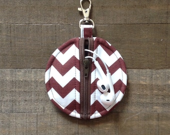 Brown and White Chevron Circle Zip Earbud Pouch / Coin Purse - Ear Bud Holder Pacifier