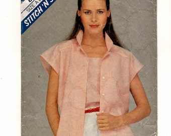"A Buttoned, Extended Sleeve Blouse and Pullover Shoulder-Strap Cami Pattern for Women: Sizes 6 & 8, Bust 30-1/2"" - 31-1/2"" • McCall's 8491"