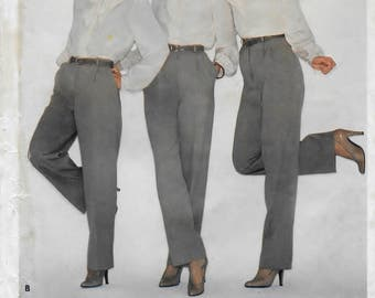 """A Tapered, Narrow, and Straight-Leg, Front Pleat, Mock Fly Proportioned Pants Sewing Pattern for Women: Size 8, Waist 24"""" • Butterick 3429"""