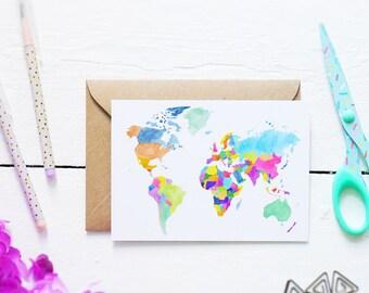World Map - Postcard