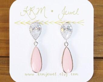 Blush Pink Crystal Earrings, CZ Earrings, Cubic Zirconia, Silver Teardrop Post Earrings, Bridesmaid, Bridal, Wedding, Special Occasion