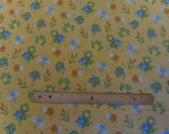 Yellow  Doodle Bug Turtle/Frog  Flannel Fabric  by the Yard