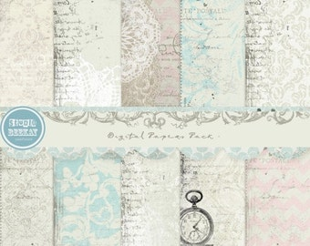 ON SALE Digital Scrapbooking Papers pack, 12x 12 in 300 dpi vol.50 - INSTANT Download