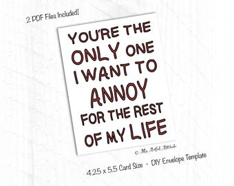 PRINTABLE Card, Funny Valentines, Anniversary Card, Sarcastic Mean Humor,  For Wife Or  Printable Anniversary Cards For Husband