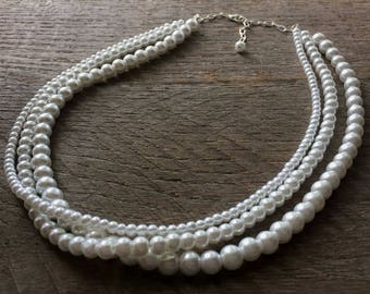 White Pearl Necklace Multi Strand Bridal Necklace on Silver or Gold Chain