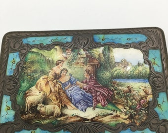 Vintage Silver and Turquoise Outdoor Scene Gucci Italy STAMPED! RARE!!