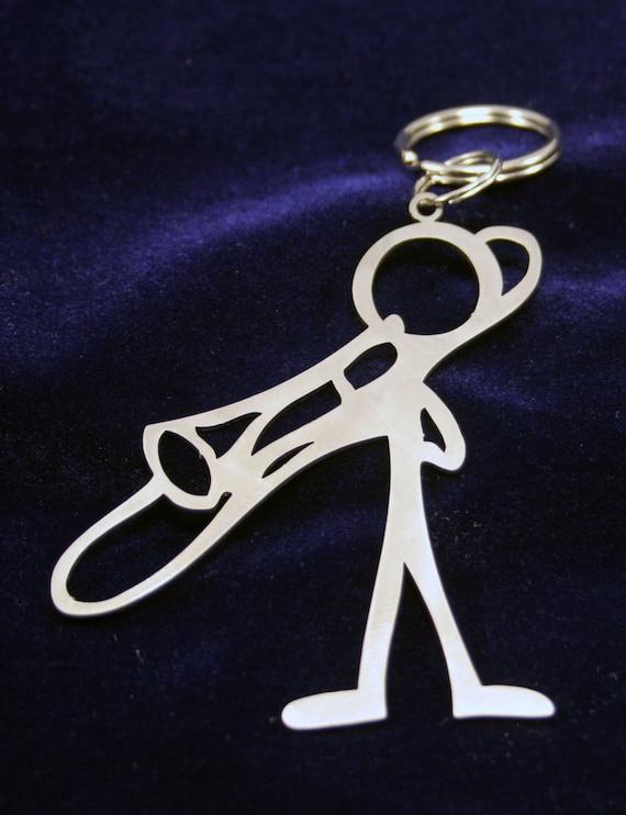 Male Trombone Player Stick Figure Keychain charm
