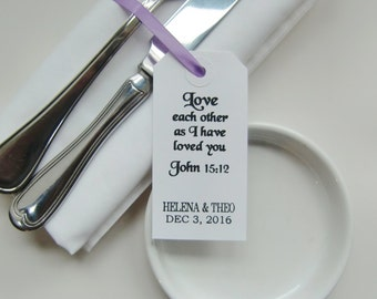 Weddings-Wedding Table Decor-LOVE EACH OTHER-Wedding Napkin Ties-Elegant White Tags with Ribbon or String-Wedding Favors-Weddings