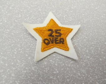 "Small vintage bowling patch, 1970s-80s, ""25 over,"" small patch"