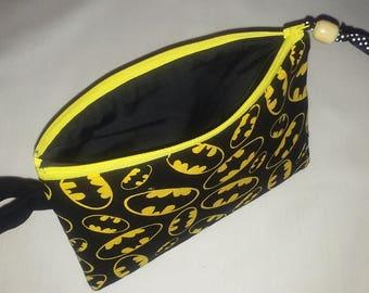 Zipper Pouch Bag - Batman Zipper pouch - Makeup bag - School supply pouch - Travel bag - Camera bag - Medical  pouch - Handmade - Gift bag -