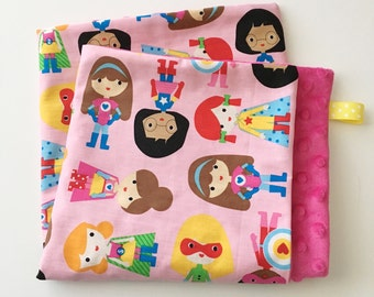 18 x 18 Lovey/Security Blanket...Pink Super Girls with Minky...Can be Personalized ...Quick Ship!...Shower Chic