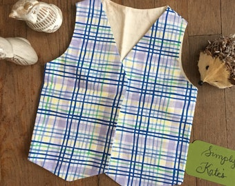 Open plaid boys vest