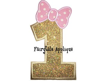 Digital Machine Embroidery Design - Number 1 with a Bow Applique