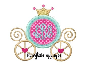 Digital Machine Embroidery Design - Monogram Princess Carriage Applique