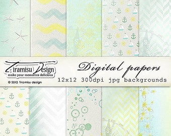 ON SALE Scrapbook Papers and Digital Paper Pack 21