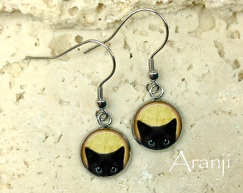 Glass dome black kitten earrings, black cat earrings, black cat jewelry, black cat drop earrings, cat earrings, AN116DP
