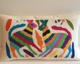 boho Mexican Otomi lumbar pillow cover