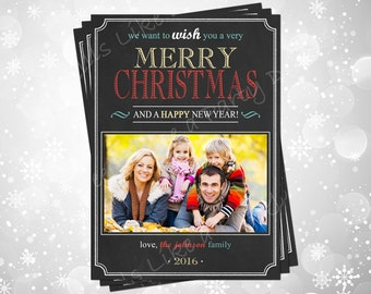 Custom Color Chalkboard Christmas Card with Photo