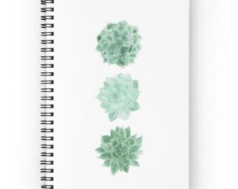 Succulent Notebook, spiral notebook, cactus journal, white notebook, succulent journal, cactus notebook, modern notebook, minimal journal