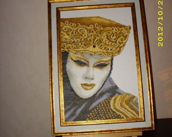 Mask of Venice - counted tuned hand made embroidery