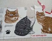 Cat Appliques - Partial Panel, Brown Cat, Two head Appliques