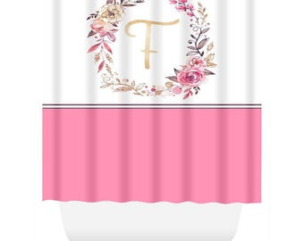 Shower Curtain.  Pink and White Wreath Initial Shower Curtain. Monogrammed Shower Curtain.  Personalized Shower  Curtain
