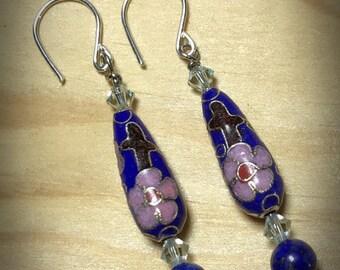 Blue Teardrop Cloisonné Earrings