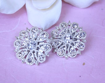 Bridal Earrings,Clip On Earrings,Vintage Style,Rhinestone Earrings, Statement Earrings, Wedding Rhinestone Earrings, Bridal Jewelry