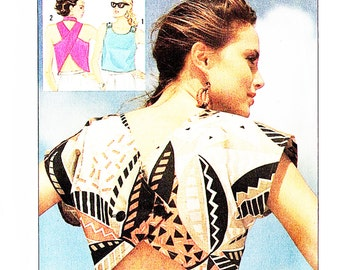 Simplicity 7563 Misses' Retro 1980s Cut Away Sun Tops Sewing Pattern