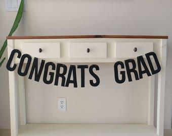 Graduation Banner, Felt, Sign, Bunting, High School, College, Black, Reusable, Eco-Friendly, Grad Night, Party, Celebration, Photo Prop,