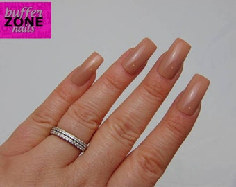 WIDE FIT  Hand Painted Press On Nails, Dark Nude, Long Length
