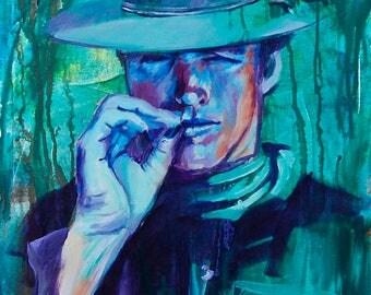 """High Plains Drifter 12""""x18"""" Western Portrait Giclee Poster Artist Print Wall Art Colorful Abstract Pop Art"""