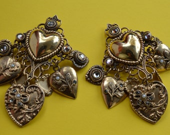 Zoe Coste Vintage Baroque Dangle Clip On Earrings Made in France  1980s