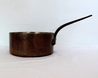 Vintage French hammered 2mm copper cooking pan, pot,  with cast iron handle and tin lining