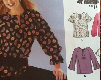 UNCUT and FF Pattern Pieces Simplicity 5346 Sewing Pattern Sizes 16 thru 22  Pullover Blouses with Neckline and Sleeve Variations and Belt