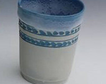 Juice Cup, White & Ocean Blue small cup, porcelain wine cup