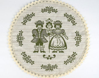 Vintage Austrian Doily / Wall Hanging / Coaster, Austrian Folk Art, Made in Austria, 14.5 Inches